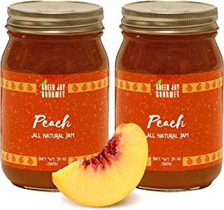 Green Jay Gourmet Peach Jam - All-Natural Fruit Jam with Peaches & Lemon Juice - Vegan, Gluten-free Jam - Contains No Preservatives or Corn Syrup - Made in USA - 40 Ounces