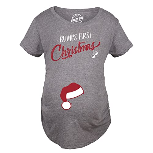 c208974695 Crazy Dog T-Shirts Bumps First Christmas Maternity Shirt Funny Holiday Party  Tee for Pregnant