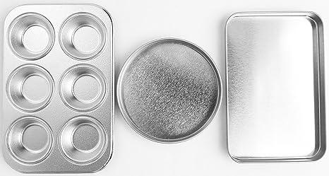 Easy Oven Bake Cake Pan Set Includes Cupcake Pan Rectangular Pan and Round Pan