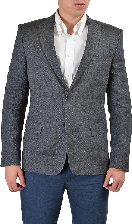 Versace Collection Men's Gray Linen Two Button Sport Coat Blazer US 38 IT 48