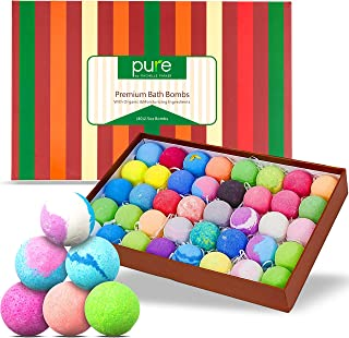 Bath Bomb Natural Gift Set for Men, Women and Kids. Individually Wrapped Lush Bath Bombs Infused With Essential Oils (40 Count)