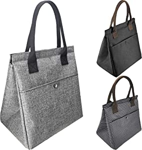 Brandzini Insulated lunch tote bag for women waterproof easy closure ideal for work picnic beach travel (Gray)
