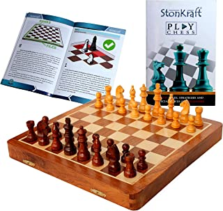 """StonKraft Collectible Folding Wooden Chess Game Board Set with Magnetic Crafted Pieces, 12"""" X 12"""""""