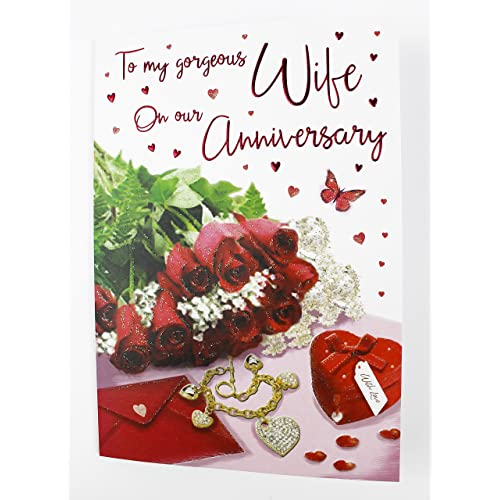 WHITE COTTON CARDS Code XLWB47 To My Beautiful Wife Happy Anniversary Handmade Large Anniversary Card Roses Red