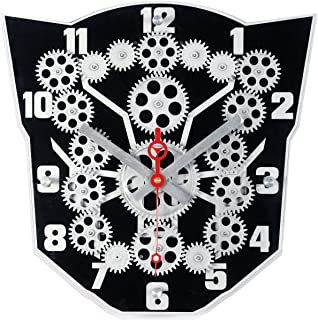 Maple's Clock Moving Gear Wall Clock with Mask Shaped Plexiglass Dial, Black