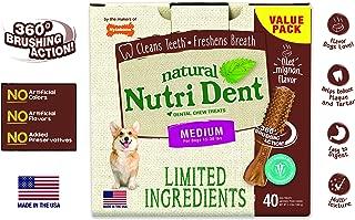 Nutri Dent Limited Ingredient Dental Dog Chews | Medium Size | Filet Mignon or Fresh Breath Flavors