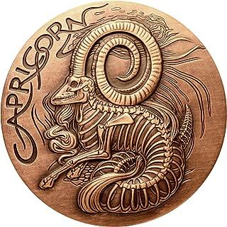 SkullCoins CAPRICORN - 2015 Memento Mori Zodiac Series 1 Oz Antique Finish COPPER Round - Low Mintage of Only 2000 Pieces