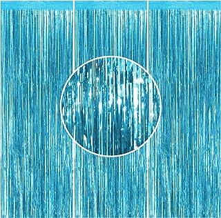 3PCS Foil Curtain Light Blue Metallic Tinsel Foil Fringe Curtains- 3.2 ft x 8.2 ft Light Blue Metallic Fringe for Baby Sho...