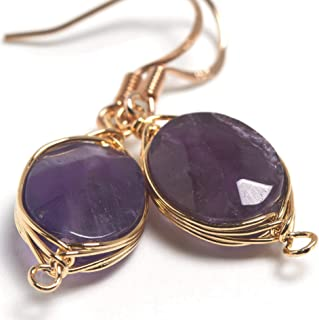 Natural Stone Wire Wrap Dangle Drop Earrings Gold Plated 925 Sterling Silver Hook/Amethyst Oval Cut