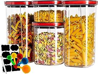 Boite de Rangement Cuisine Lot de 4, Bocaux Hermetiques Alimentaires en Plastique Scellée avec Couvercle, pour Stocker Les...
