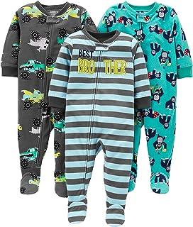 Simple Joys by Carter's 3-Pack Loose Fit Flame Resistant Fleece Footed Pajamas Bebé-Niños, Pack de 3