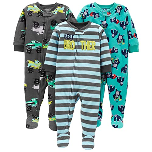 5e68966f7312b Simple Joys by Carter's Baby and Toddler Boys' 3-Pack Loose Fit Fleece  Footed