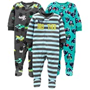 Simple Joys by Carter's Boys' 3-Pack Loose Fit Flame Resistant Fleece Footed Pajamas, Brother/Trucks/Gorillas, 12 Months