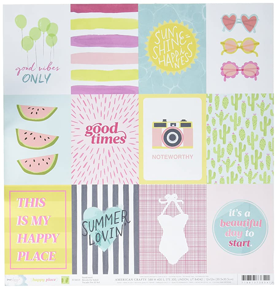 American Crafts 373654 Dear Lizzy Happy Place Double Sided Cardstock (25 Sheets Per Pack), 12