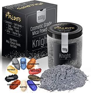 FIREDOTS Knight Silver Mica Powder, Massive 100 Gram Pot of True Cosmetic Grade Mica with Pearlescent Effect, 100% Pure for Artists Working in Resin Art, Epoxy, Concrete, Soaps, and Cosmetics