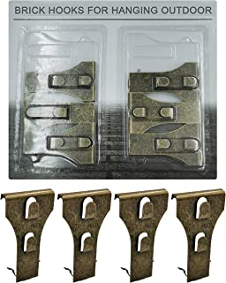 Brick Hook Clips - Bricks Hook Clip for Hanging Outdoors Wall Pictures, Metal Brick Hangers Fastener Hook Brick Clamps Brick Hooks Fireplace, Stone Hooks for Hanging Wreath Light Decorations 6 Pack