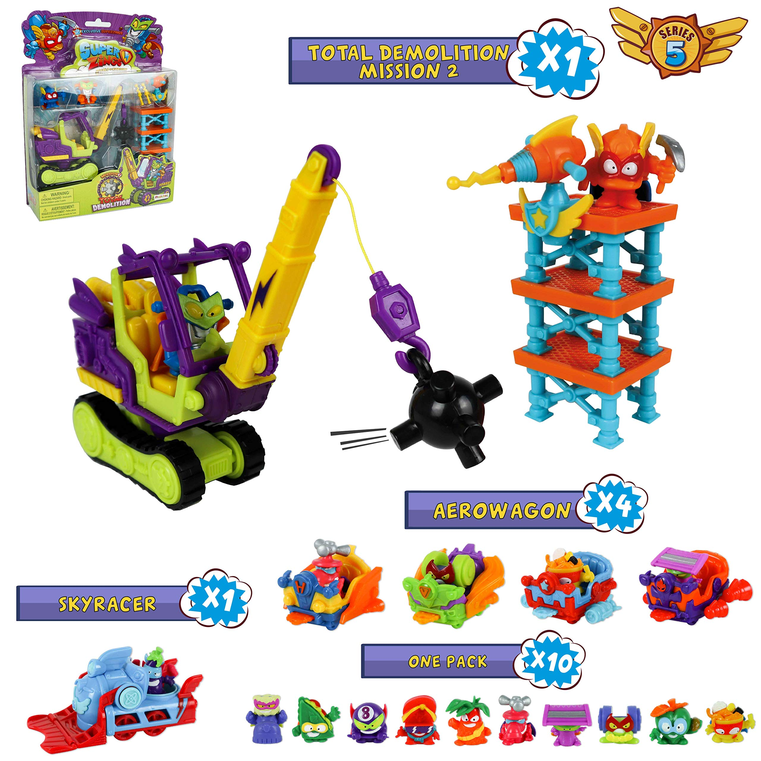 SuperZings Serie 5 - Total Demolition Mission 2 y Pack Sorpresa con 15 Sets | Contiene Blíster Total Demolition, 10 Sobres One Pack, 4 Aerowagons y 1 Skyracer | Juguetes y Regalos para Niños: Amazon.es: Juguetes y juegos