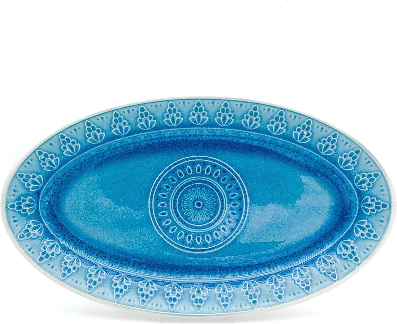 Euro Popular product Ceramica Fez Reactive Crackleglaze Max 47% OFF Collection Pla Oval 14
