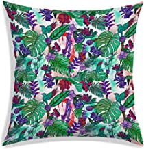 RADANYA Vintage Design Linen Pillow Case Tropical Leaf Cushions Home Decor Pillow Cover Square Throw Pillow Case 12x12inch...