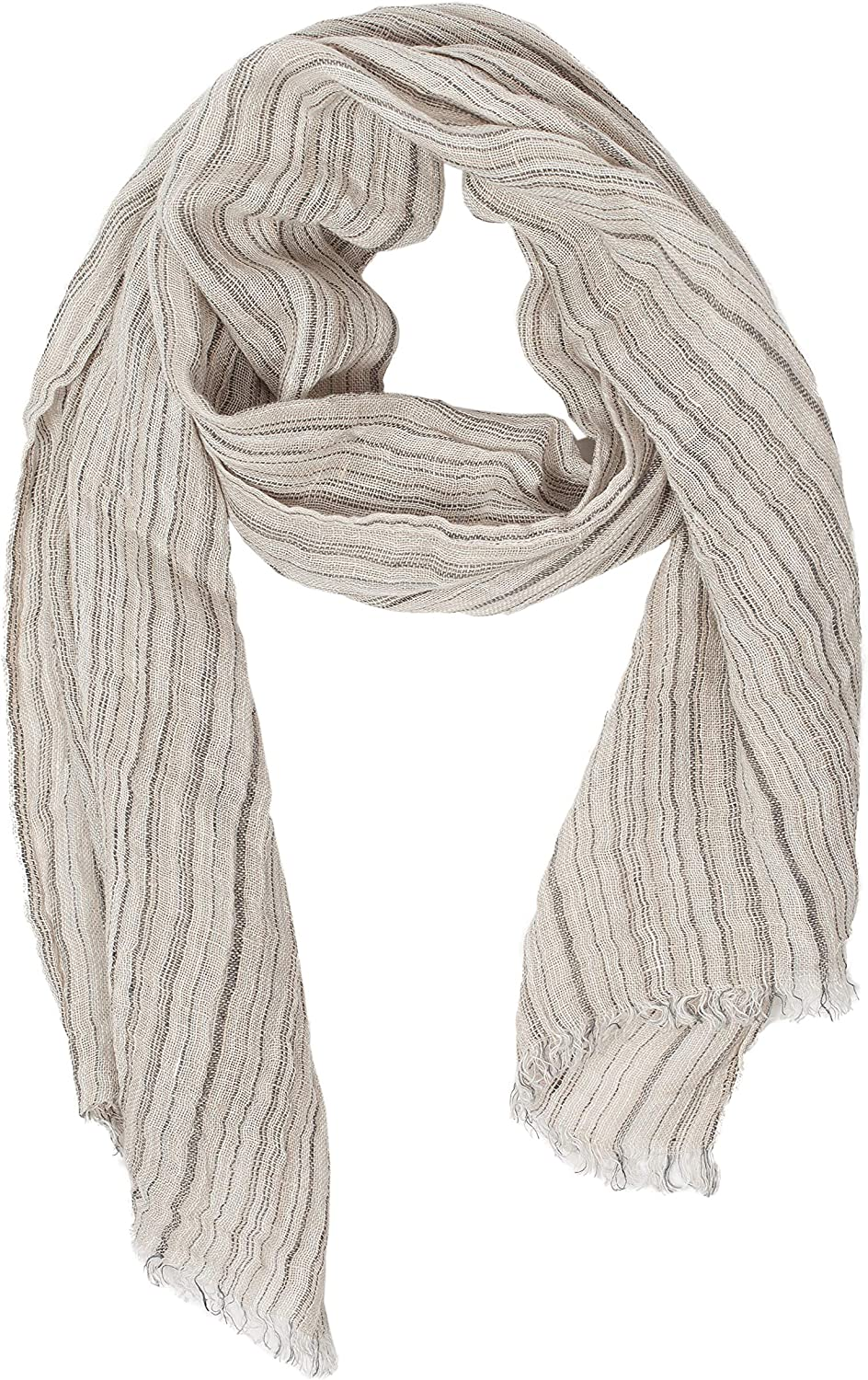 Striped Scarf   100% Linen Scarf   Grey Scarf   Scarves For Women   Mens Scarf