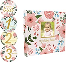 Pearhead Memory Book with Included Baby Belly Stickers, Modern Baby First Year Journal, Cherish Every Moment of Your Babys First Year, Perfect Baby Shower Gift, Floral