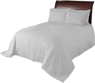 Beatrice Home Fashions Channel Chenille Bedspread, Queen, White