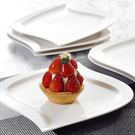 Preisvergleich für MALACASA, Serie Elvira, 12 teilig Set Cremeweiß Porzellan Kuchenteller Dessertteller Frühstücksteller 8,5 Zoll / 21,5x21x2cm für 12 Personen