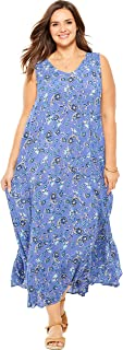 Woman Within Women's Plus Size Petite Sleeveless Crinkle A-Line Dress