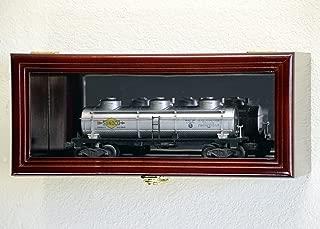 Single O Scale Train Engine Locomotive Cab Tanker Model Car Display Case Cabinet Holder Rack w/98% UV- Lockable with Mirror Back (Cherry Finish)