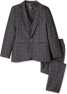 Iypurkmn 男の子 フォーマル スーツ チェック 柄 子供用 結婚式 発表会 ジャケット ベスト ズボン 3点セット 七五三 卒業式 入学式