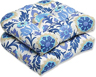 """Pillow Perfect Outdoor/Indoor Santa Maria Azure Tufted Seat Cushions (Round Back), 19"""" x 19"""", 2 Count"""