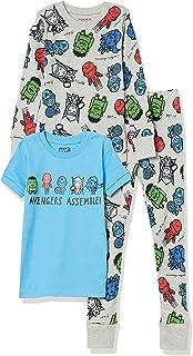 Spotted Zebra Niño Los Vengadores Pluto Spider Man Conjunto de pijama de tres piezas de algodón con corte ajustado