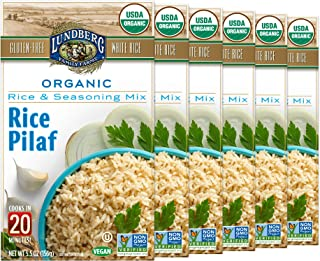 Lundberg Organic White Rice Pilaf Entree, 5.5oz (6Count), Gluten-Free, Vegan, Usda Certified Organic, Non-Gmo Verified, Kosher; 20 Min Cook Time