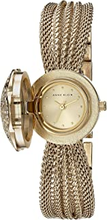 Anne Klein AK-1046CHCV Swarovski Crystal Accented Gold-Tone Covered Dial Mesh Bracelet Watch