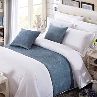OSVINO Solid Color Chenille Soft No Fading Modern Bed Runner Bedding Scarf Protection, Blue 240X50cm for 180cm Bed