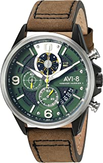 AVI-8 Men's AV-4051 'Hawker Harrier II' Quartz Stainless Steel and Leather Aviator Watch