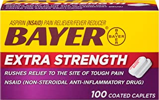 Extra Strength Bayer Aspirin 500mg Coated Tablets | Pain Reliever and Fever Reducer | 100ct
