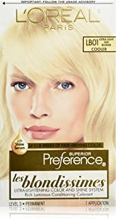 L'OrÃal Paris Superior Preference Fade-Defying + Shine Permanent Hair Color, LB01 Extra Light Ash Blonde, Hair Dye Kit (Pack of 1)