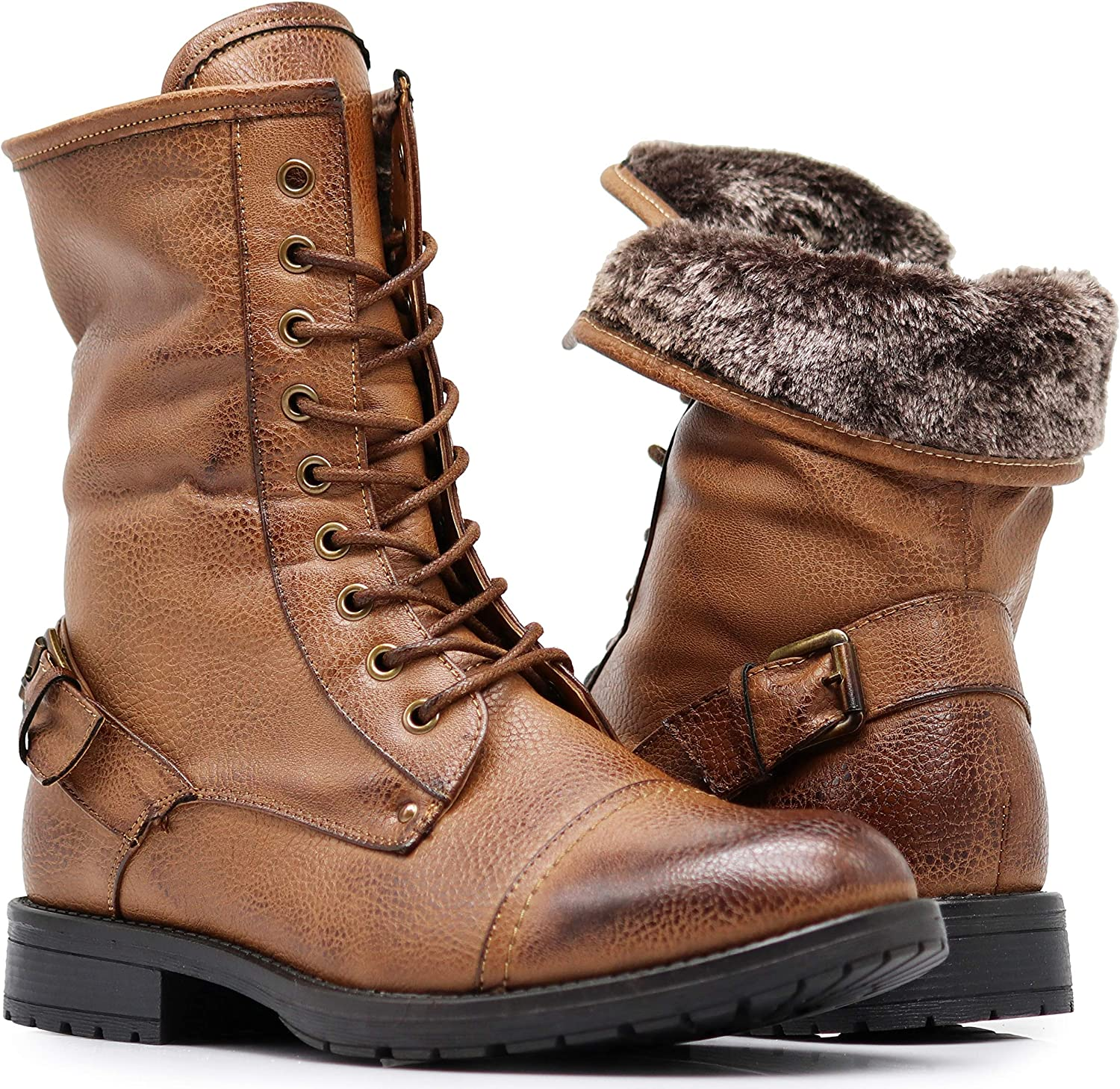 SH05 Mens Military Combat Mid Calf free Roll Down Max 79% OFF High Top Lace Ankle