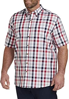 Harbor Bay by DXL Big and Tall Easy-Care Check Sport Shirt, Silver Sconce