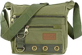 Storite Cotton Sling Cross Body Travel Office Business Messenger one Side Shoulder Bag for Men Women(24 x 8.8 x 21.5 cm,Olive)