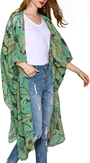 Women's Floral Kimono Cardigan Sheer Tops Loose Blouse Cover Ups