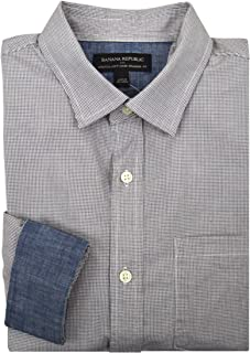 Mens Standard-Fit Soft-Wash Yarn Dye Shirt White Multi Checked Print