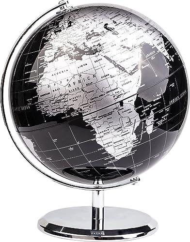 EXERZ Metallisch Globus (Durchmesser: 20cm) - Pädagogisch/Geografisch/Dekoration - Mit einem Metallfuß - in Englische...