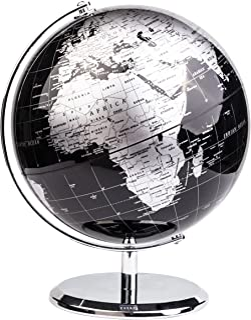 EXERZ Metallisch Globus (Durchmesser: 20cm) - Pädagogisch/Geografisch/Dekoration - Mit einem Metallfuß - in Englischer Spr...