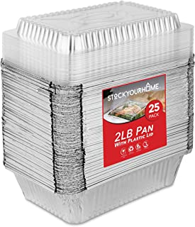 Stock Your Home 2 Lb Aluminum Pans Disposable with Lids (25 Pack) - Food Containers Clear Plastic Lids - Disposable & Recy...