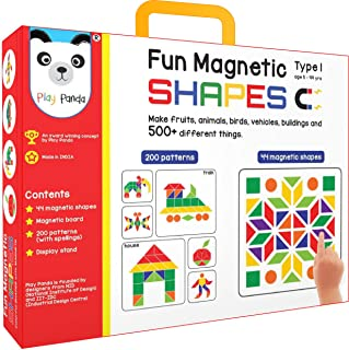PLAY PANDA Fun Magnetic Shapes (Junior): Type 1 with 44 Magnetic Shapes, 200 Pattern Book, Magnetic Board and Display Stand