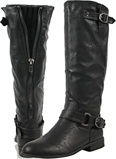 afde42cd1328 Wild Diva Women s Faux Leather Buckle Back Zipper Low Heel Riding Knee High  Boot