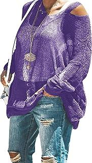 YSkkt Womens Lightweight Pullover Sweaters Plus Size Oversized Sheer Tops Knit Fall Slouchy Sweater