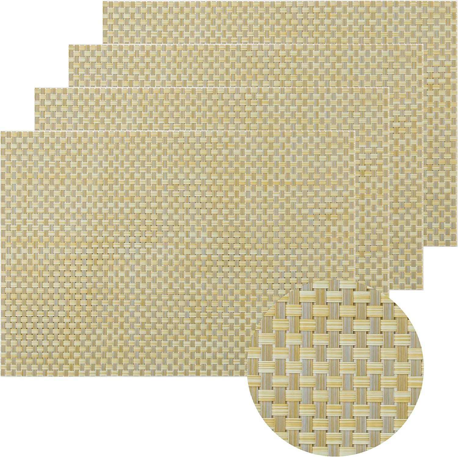 WF WU FANG Placemats Set of 4 Wo Classic Dining Vinyl Table for Washable Luxury